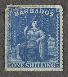 Barbados: 1861-70 1/- blue error of colour, unused.